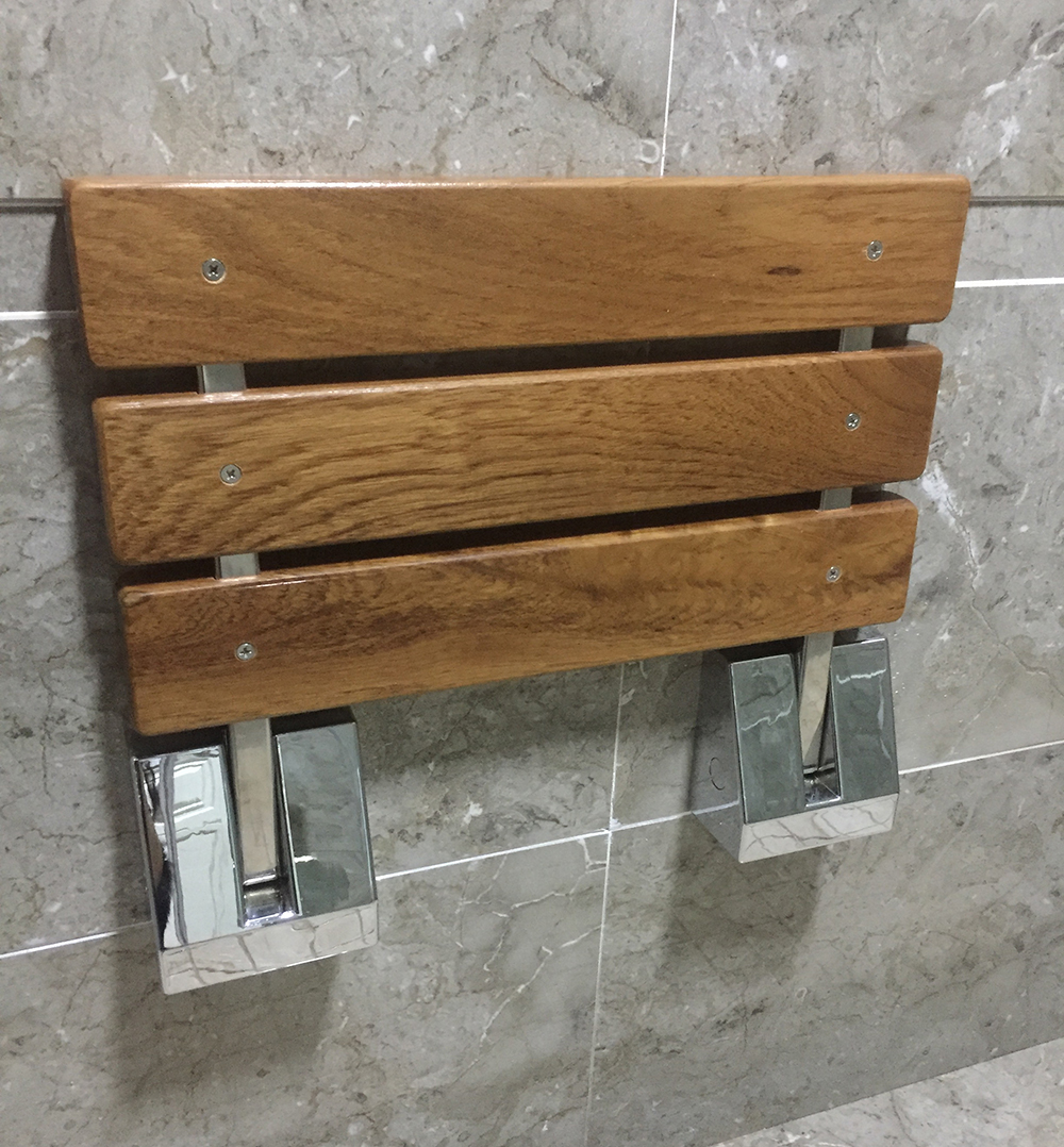 compliant bench teak mount tbf products wall ada shower wide seat