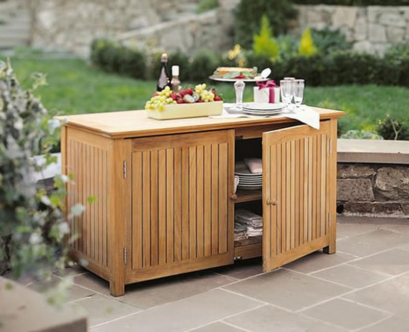 On Sale! Multipurpose Teak Cabinet With Rising Hinged Lid