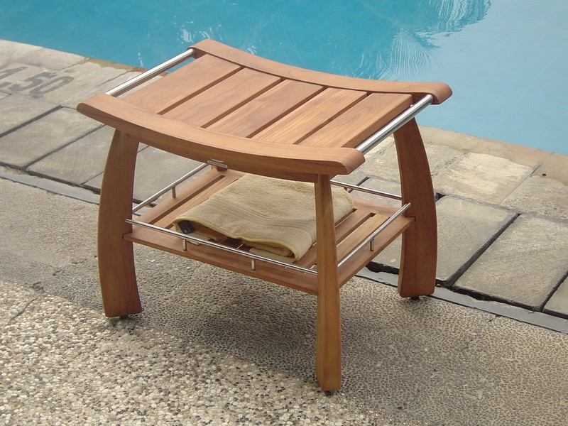 On Sale! Original Teak Shower Bench With Shelf & Stainless Steel Handles