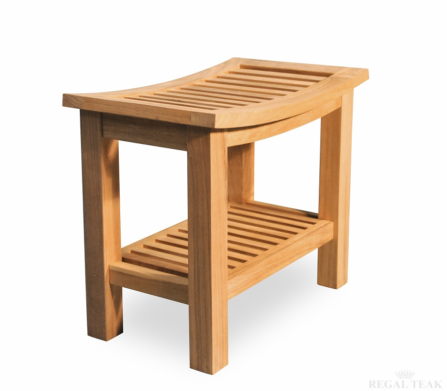 Regency Teak Shower Stool with Shelf