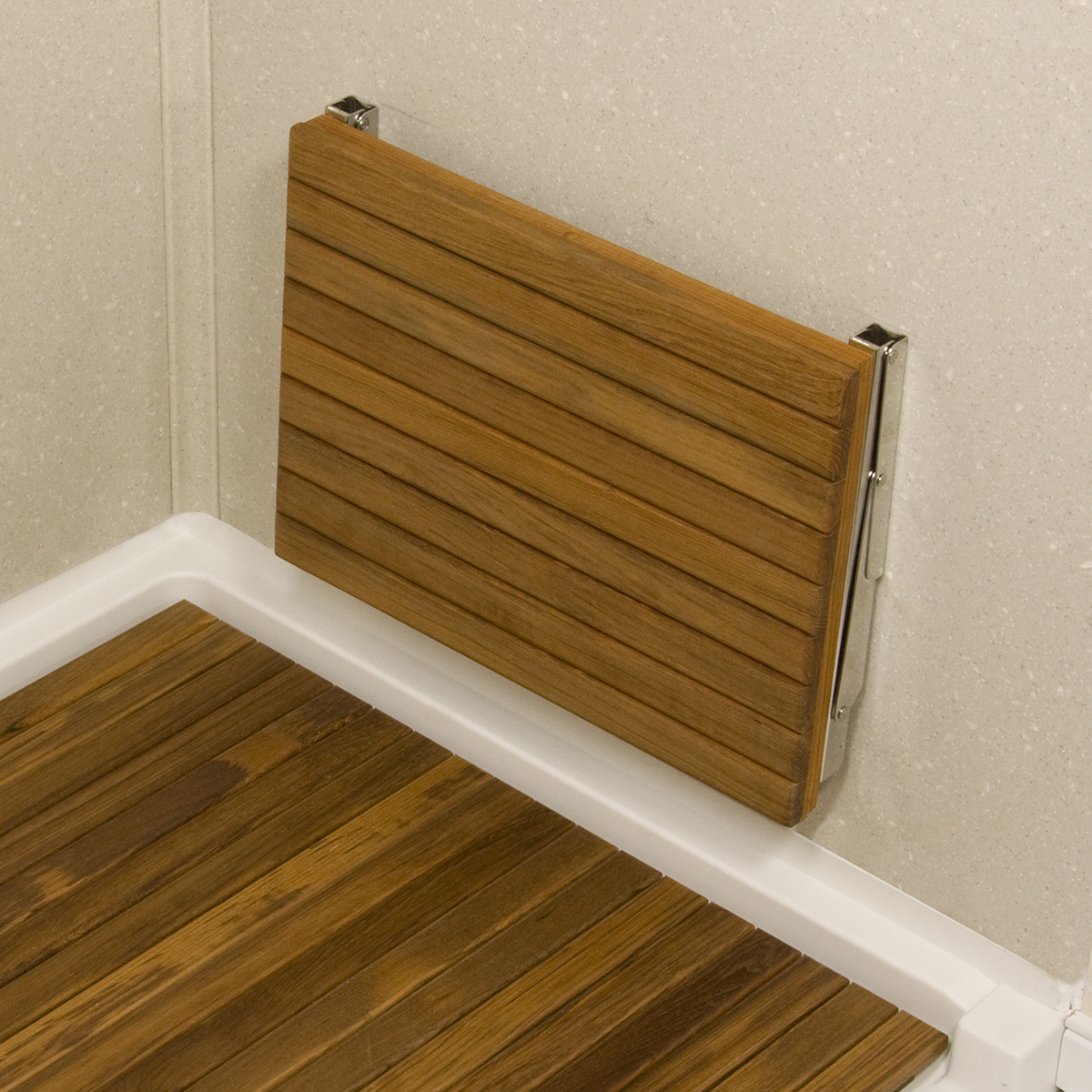 "Sale 17"" L x 12 1 2"" D Wall Mount Fold Shower Teak Bench"