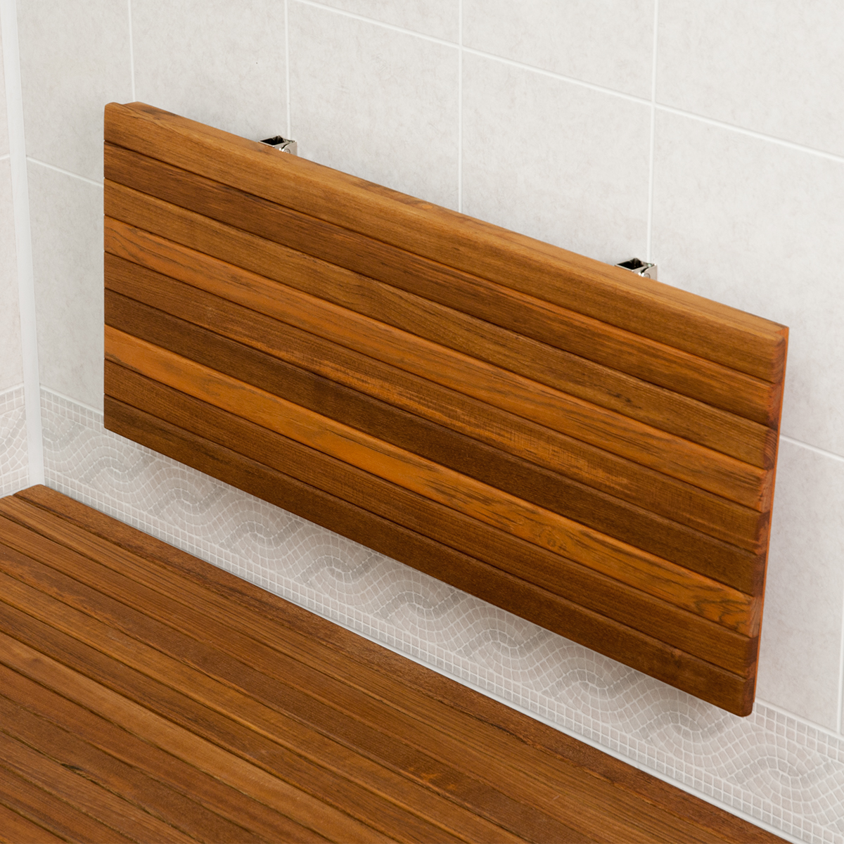 home amazon com teak for kai improvement shelf with dp bench shower stainless patented corner