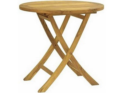 "19"" D x 22"" H Natural Finish Round Teak Side Table"