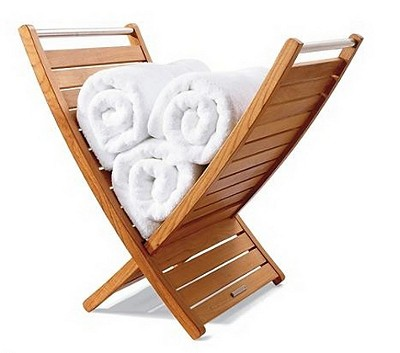 "38"" W x 18"" D x 34.5"" H - Freestanding Teak Towel Holder With Stainless Steel Handles"