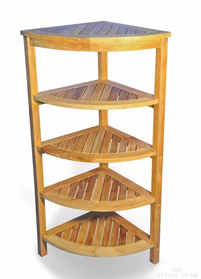 Teak Corner Shelf 5 Tier