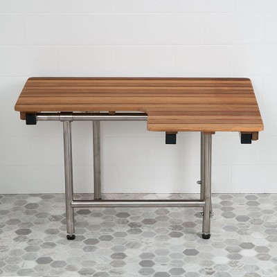 "36"" L x 22-1/2"" D ADA Compliant Left Hand Wall-Mount Teak Bench With Legs"