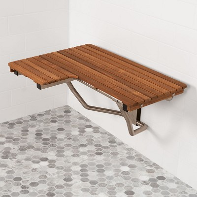 "32"" L x 22-1/2"" D ADA Compliant Right Hand Wall-Mount Teak Bench"