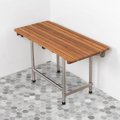 "22"" L x 16"" D x 14"" H ADA Compliant Shower Teak Bench w Legs"