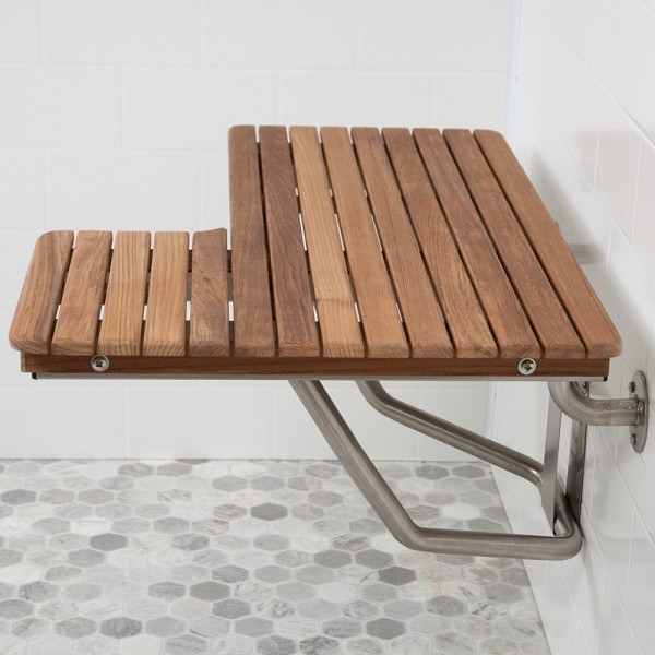"36"" L x 22-1/2"" D ADA Compliant Left Hand Wall-Mount Teak Bench"