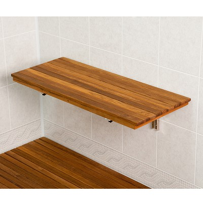 "24"" L x 12-1/2"" D Wall-Mount Fold Shower Teak Bench"