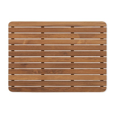 "25"" L x 18"" W Shower Teak Mat Finished With Rounded Corners"