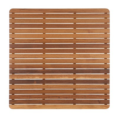"30"" L x 30"" W Shower Teak Mat Finished With Rounded Corners"
