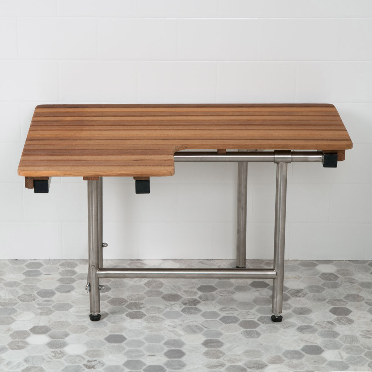 32 L X 22 1 2 D Ada Compliant Right Hand Wall Mount Teak Bench With Legs