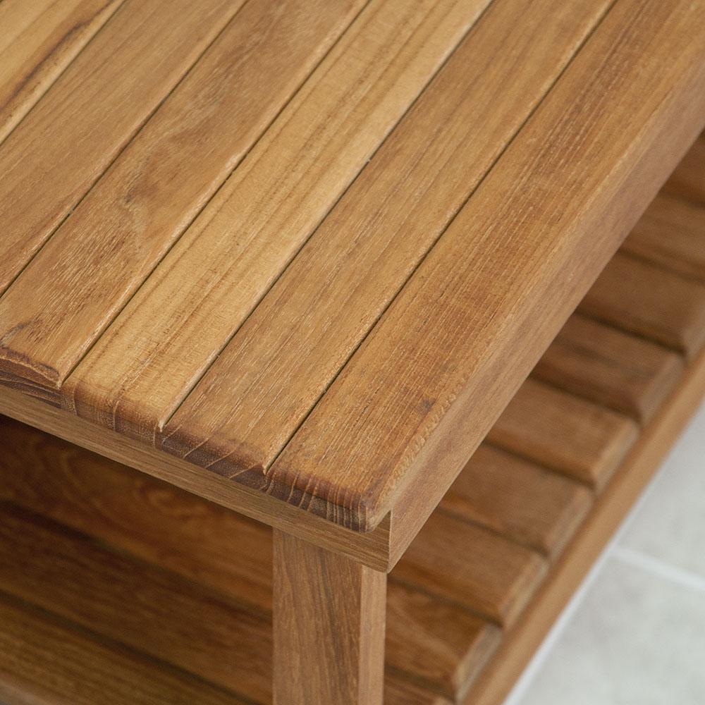 25 L X 14 W 18 H Rigid Leg Teak Bench With Shelf